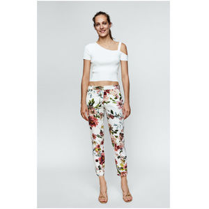 NWT Zara Size 2 Floral Chino Pants